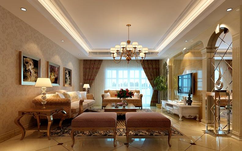 90平米 欧式客厅罗马柱 电视背景墙装修效果图 90平米 欧式客厅罗马柱高清图片