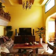 复式楼简约风格客厅纯色电视背景墙装饰