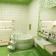 清新绿色的洗手间