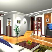 中式风格原木客厅电视背景墙