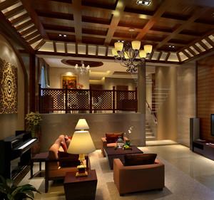 复式楼客厅生态木吊顶效果图