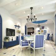 地中海风格餐厅石膏板吊顶装饰