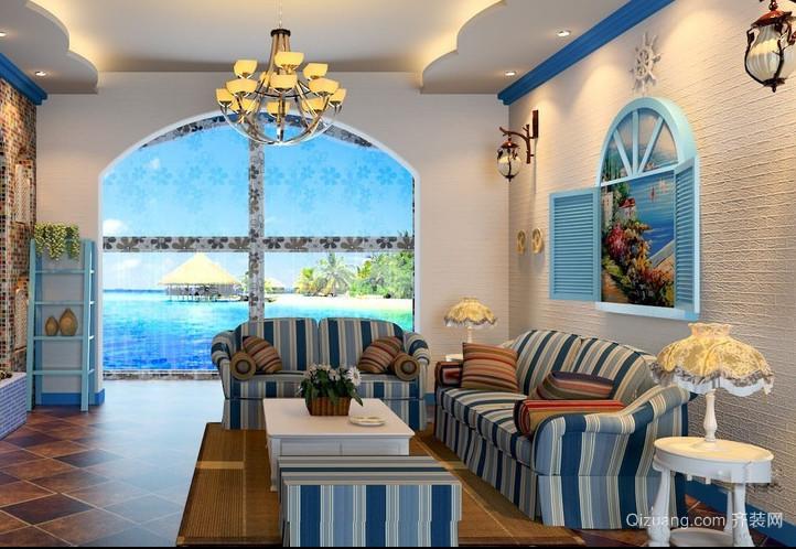 单身公寓地中海风格客厅背景墙装修效果图
