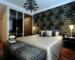 卧室黑色壁纸装潢设计