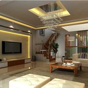 中式风格别墅客厅电视背景墙装饰