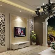 现代简约风格客厅电视墙饰效果图