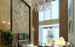 现代跃层客厅吊顶装修效果图