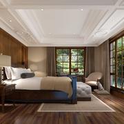 欧式简约风格卧室原木背景墙装饰