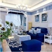 地中海客厅蓝色系沙发装饰