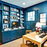 书房蓝色书柜欣赏