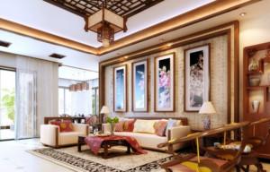120平米单生公寓客厅装饰画装修效果图