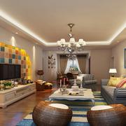 地中海风格拼色电视背景墙装饰