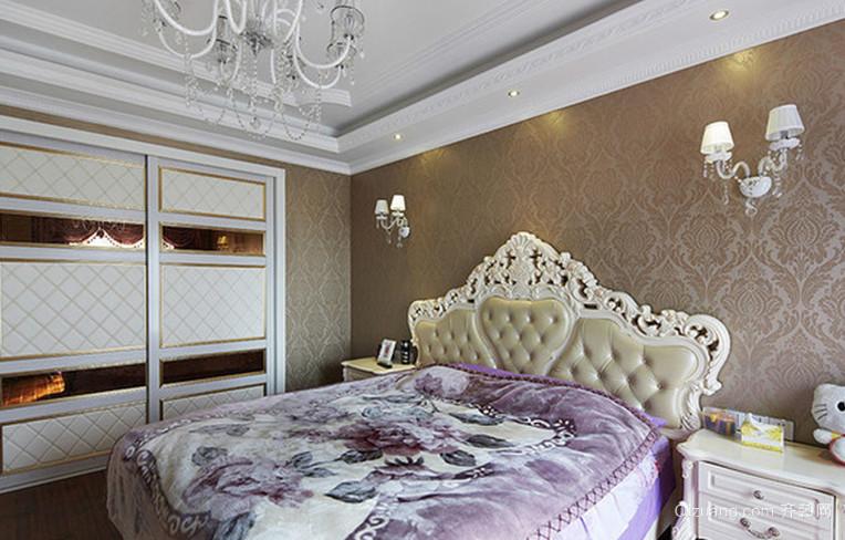 90平米两居室法式风格卧室背景墙装修效果图欣赏