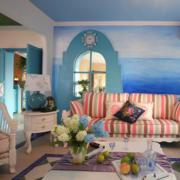 地中海风格客厅白色茶几装饰