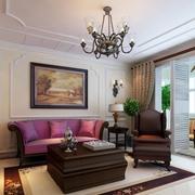 美式简约风格客厅石膏线装饰