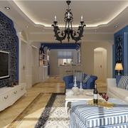 地中海风格客厅简约电视背景墙装饰