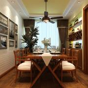 原木简约风格餐厅背景墙装饰