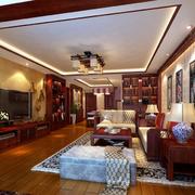 中式复式楼客厅电视背景墙装饰