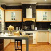 美式简约风格厨房石制吧台装饰