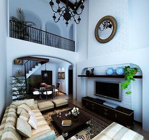 2015三居室地中海风格客厅电视背景墙装修效果图