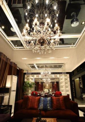 时尚简欧客厅吊顶水晶吊灯装修效果图