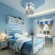 大户型卧室蓝色壁纸展示