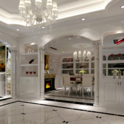 别墅欧式白色系酒柜装饰
