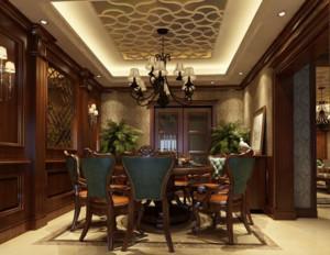 美式深色系餐厅酒柜装饰