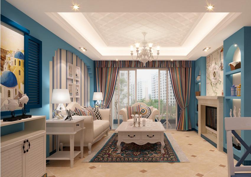 单身公寓地中海 风格 客厅 背景墙装修 效果图 齐