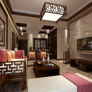 古色古香中式客厅电视背景墙装饰