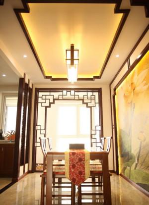 2015别墅中式风格餐厅吊顶装修效果图