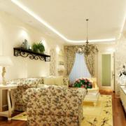 欧式田园风格客厅置物架装饰