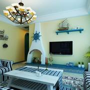 客厅简约风格电视浅色背景墙装饰