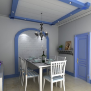 蓝白色简约餐厅装饰