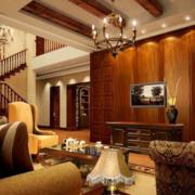 美式风格客厅原木电视背景墙装饰