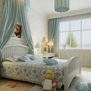 儿童房简约风格浅蓝色飘窗装饰