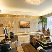 欧式风格客厅原木电视背景墙装饰
