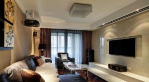 120平米简约客厅大理石电视背景墙装修效果图