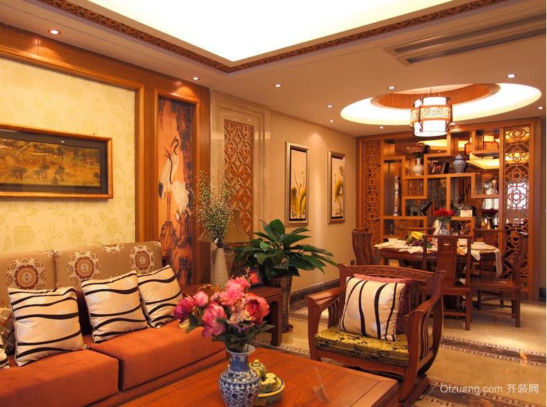 90平米大户型现代简欧客厅博古架装修效果图