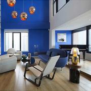 蓝色客厅背景墙