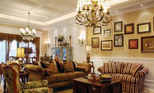 美式别墅客厅照片墙装饰