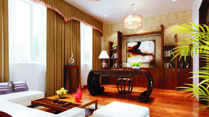 2015中式别墅窗帘装修效果图欣赏