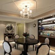 欧式风格带酒柜餐厅石膏板吊顶装饰
