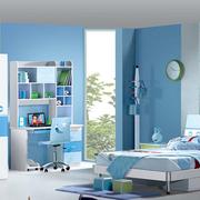 蓝色浅色系儿童房背景墙装饰