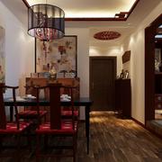 中式深色系餐厅背景墙装饰