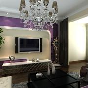 紫色系客厅背景墙装饰