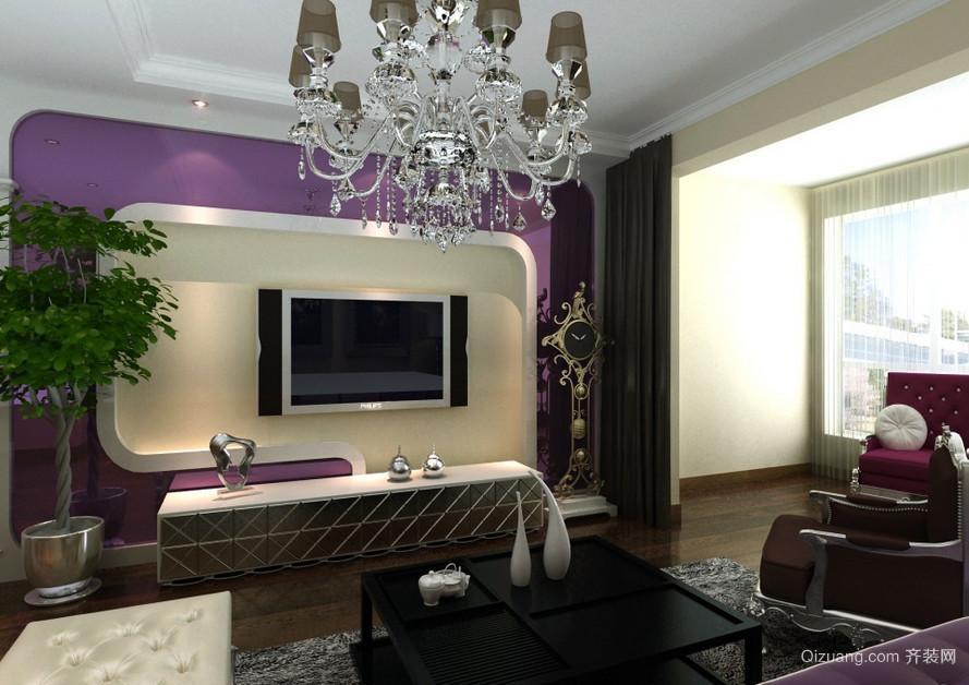 90平米大户型欧式简约客厅电视背景墙装修效果图