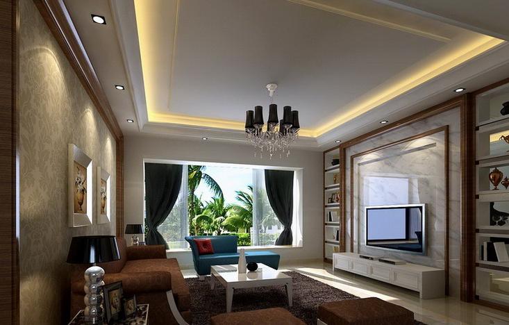120平米简约 客厅大理石 电视 背景墙装修效果图