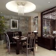 复式楼奢华风格中式餐厅桌椅装饰