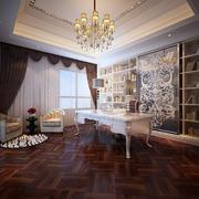 欧式风格奢华书房背景墙装饰